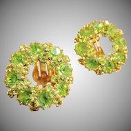 Weiss Spring Green Swarovski Crystal Wreath Clip Earrings Pre 1955