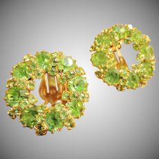 Weiss Spring Green Swarovski Crystal Wreath Clip Earrings Pre 1955