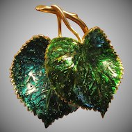Henkel Grosse Deep Green Enamel Leaves Brooch