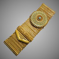 Walter Lampl Ornate Enameled Wide Slide Bracelet