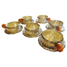 Quist Art Deco Silver Plate and Bakelite Set 6 Cups and Saucers