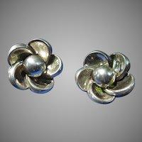 Boucher Parisina Sterling Floral Earrings - 1940's