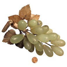 Vintage Chinese Green Stone Grapes Cluster