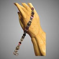 Walter Lampl 900 Silver Amethyst Glass Bracelet