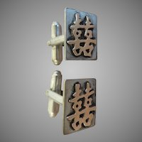 Chinese Sterling Gold Double Happiness Cufflinks