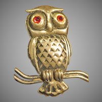 Sterling Owl Figural Brooch with Red Eyes