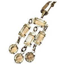 Art Deco Rock Crystal Sterling Necklace
