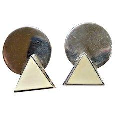 Vintage M&J Savitt Sterling Pierced Geometric Earrings