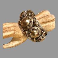 Vintage Thailand Wide Coin Silver Cuff Bracelet