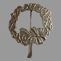 Sterling Holiday Wreath Brooch, signed PAJ