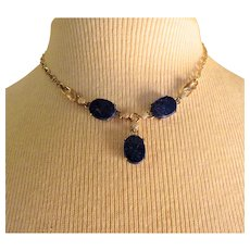 Exceptional 1940s W. E. Richards gold fill and Lapis Necklace
