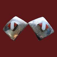 Pierced Navajo Signed Sterling Inlay Earrings