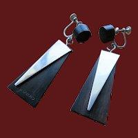 Milton Cavagnaro 1950's Modernist Sterling and Ebony Earrings