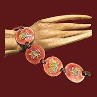Vintage Enamel and Copper Large Colorful Bracelet