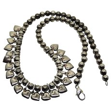 Vintage Sterling Beads Puffy Heart Charms Necklace