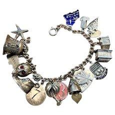 Vintage Sterling Charm Bracelet 19 charms