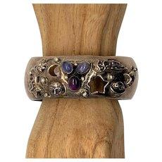 Carol Felley Sterling Amethyst Celestial Cuff Bracelet 1991