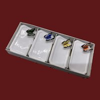 Vintage Set 4 Bone China Butterfly Place Card Holders