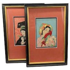 Pair of Jacoulet Original Wood Block Prints with Custom Frames