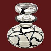 Art Nouveau Glass  Perfume Bottle Sterling Overlay