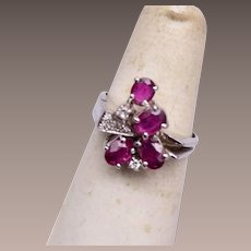 14kt White Gold Ruby and Diamond Ring Size 7