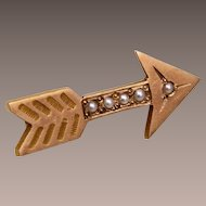 10kt Gold Arrow Brooch with Seed Pearls - Pi Beta Phi