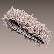 Woven White Glass Beaded Bracelet