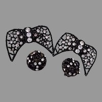 Black Open Work Shoe Clips and Matching Earrings