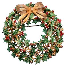 Weiss Enameled Green and Red Berry Wreath Brooch