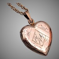 Gold Filled Heart Locket Etched MAM