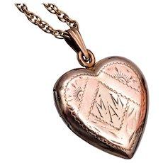 Gold Filled Heart Locket Etched MAM
