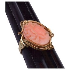 10kt Wire Wrapped Angel Skin Coral Ring 7-1/2