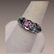 10kt White Gold Ring With Colorful Gems Size 8
