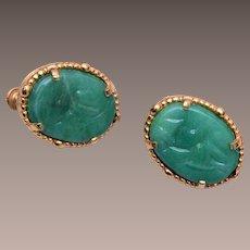 Vendome Green Molded Glass Earrings