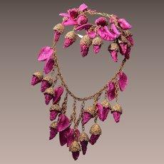 Wonderful Purple Plastic Necklace and Earring Set