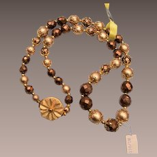 Deauville Brown Crystal and Faux Pearl Necklace