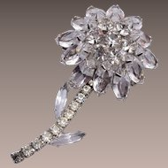Well Made Clear Rhinestone Flower Brooch