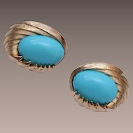 Trifari Turquoise Cabochon Earrings