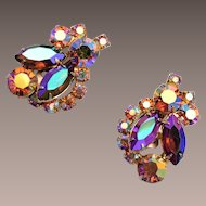 Weiss Topaz and Brown AB Rhinestone Earrings