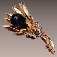 Black and Gold Rhinestone Flower Brooch