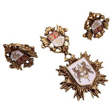 Coro Lion and Shield Dangling Brooch and Earring Set