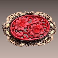 Molded Red Glass Brooch