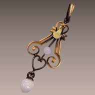 Gold Tone Pendant with Seed Pearl Dangle