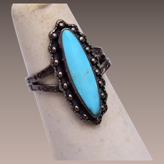 Sterling and Turquoise Ring size 6-1/4