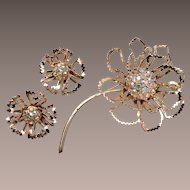 Sarah Coventry Open Work Flower Brooch and Earring Set