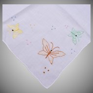 Embroidered Linen Handkerchiefs with Butterflies