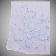 White Linen Handkerchief with Blue Embroidery