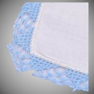 White Linen and Blue Crochet Bordered Handkerchief