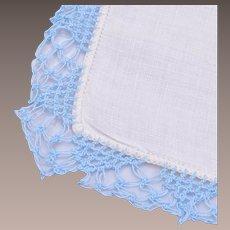 White Linen and Blue Crochet Bordered Handkerchief