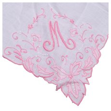 """White Linen with Pink Embroidered """"M"""" Handkerchief"""